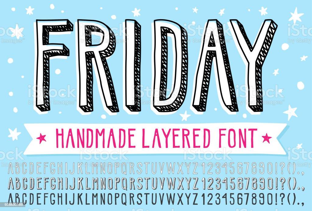 Hand drawn doodle 3d outline font.