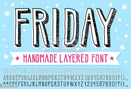 istock Hand drawn doodle 3d outline font. 928850186