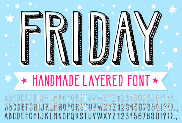 Hand drawn doodle 3d outline font. Hand drawn doodle 3d outline font. Fun simple layered vector alphabet. This vector font allow you to create a lot of great works such as posters, magazines, printings, web hand drawn  typography etc. alphabet drawings stock illustrations