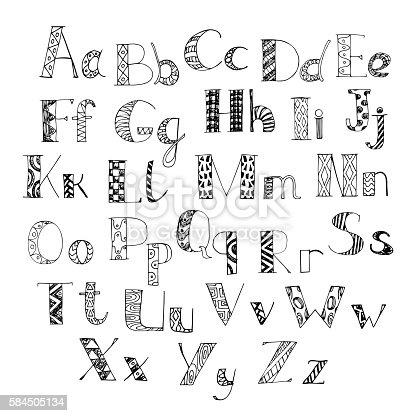 Hand Drawn Doodle Alphabet Letters Of Latin Alphabet