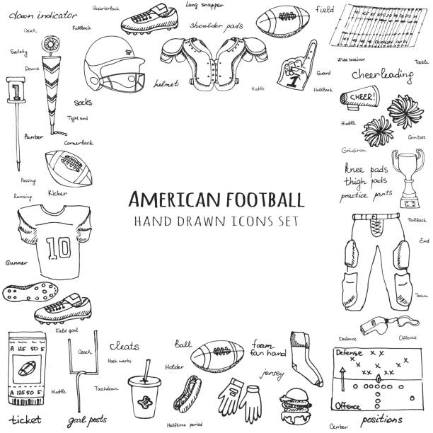 Hand drawn doodle american football set Vector illustration Sketchy sport related icons football elements, ball helmet jersey pants knee thigh shoulder pads cleats field cheerleading down indicator vector art illustration