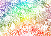 Hand drawn doodle backdrop pattern with numerous different women things. Rainbow colored tracery on white background, vector illustration
