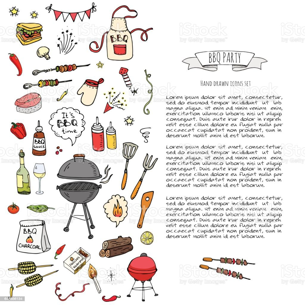 Hand drawn doodle BBQ party icons set Vector illustration summer barbecue symbols collection Cartoon various meals, drinks, ingredients and decoration elements on white background Sketch vector art illustration