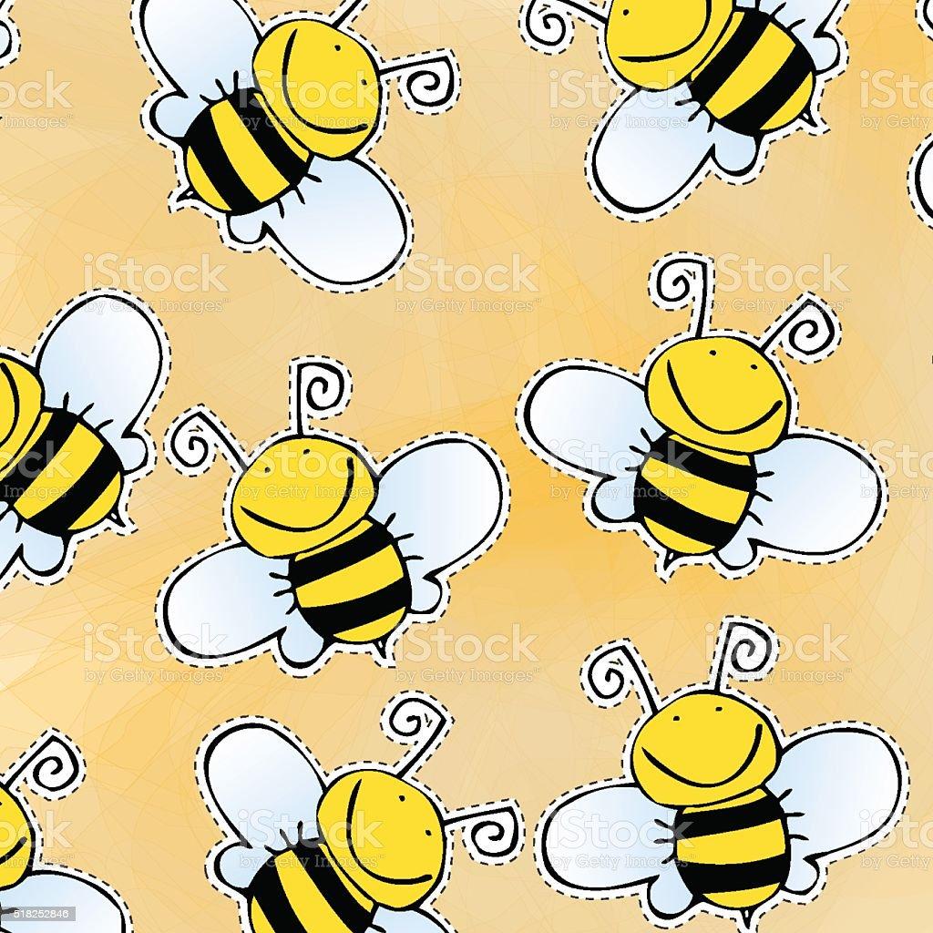 Handgezeichnet Gekritzel Biene Muster Stock Vektor Art Und Mehr