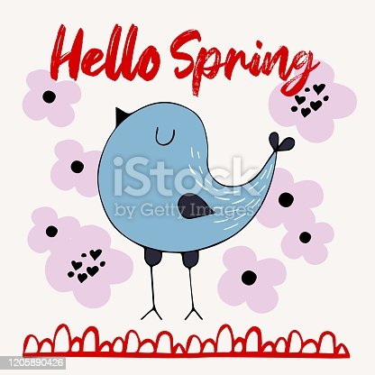 istock hand drawn doodle birds with lettering - hello spring. Abstract vector collection. Ornitology collection. Good for posrer, postcard, print 1205890426