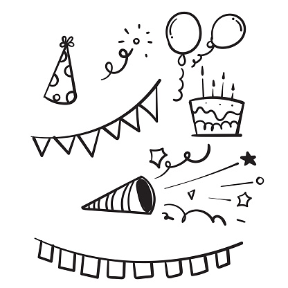 hand drawn doodle birthday element vector isolated