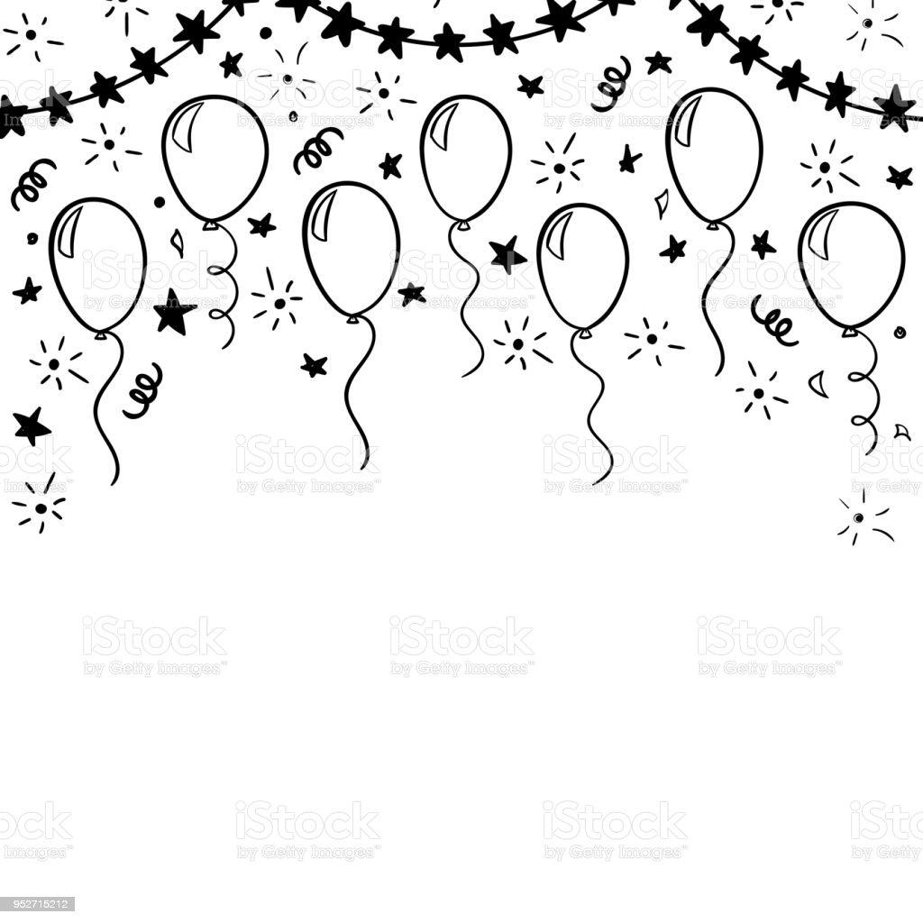 Dessinés à La Main Doodle Ballon Noir Et Blanc Concevoir Des