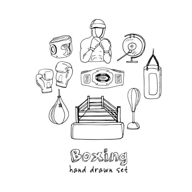 Hand drawn doodle boxing set vector art illustration