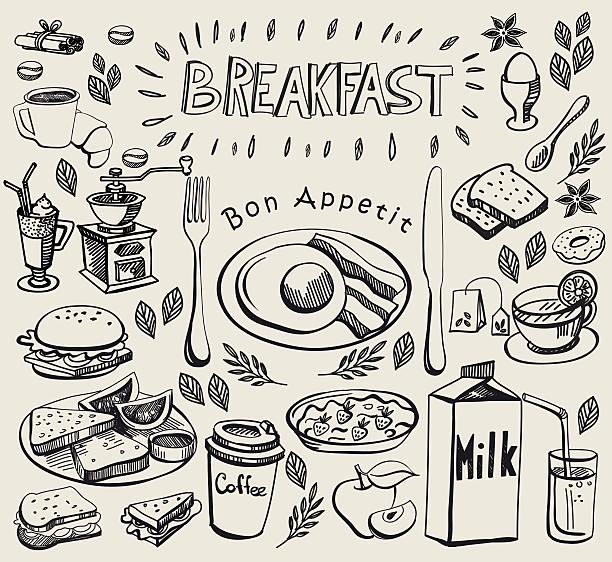 手描き落書きの朝食をお楽しみください。 - 朝食点のイラスト素材/クリップアート素材/マンガ素材/アイコン素材
