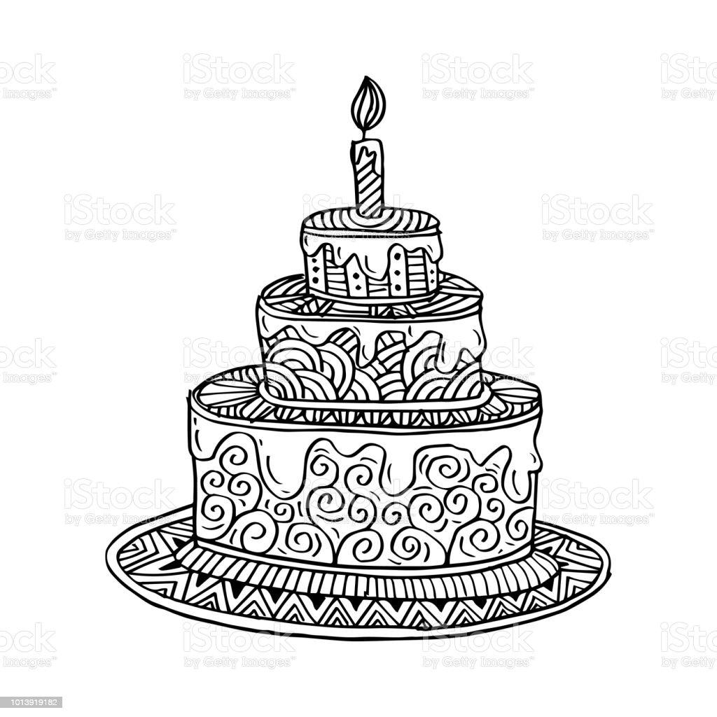 Hand Gezeichnet Doodle Kuchen Stock Vektor Art Und Mehr Bilder Von