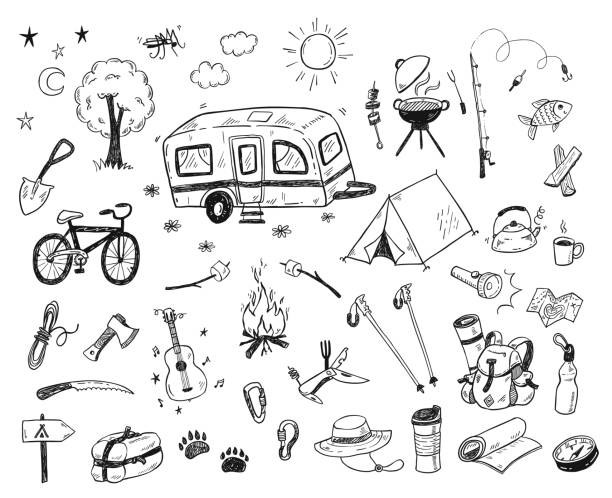 Hand drawn doodle camping vector elements, icons set with bonfire, adventure, hiking and touristic equipment Hand drawn doodle camping vector elements, icons set with bonfire, adventure, hiking and touristic equipment adventure drawings stock illustrations