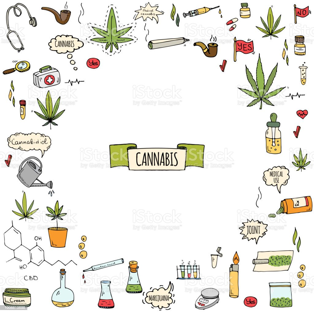 Dessinés à la main doodle jeu d'icônes de Cannabis - Illustration vectorielle