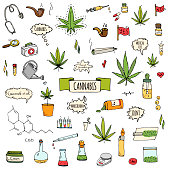 Hand drawn doodle Cannabis icons set