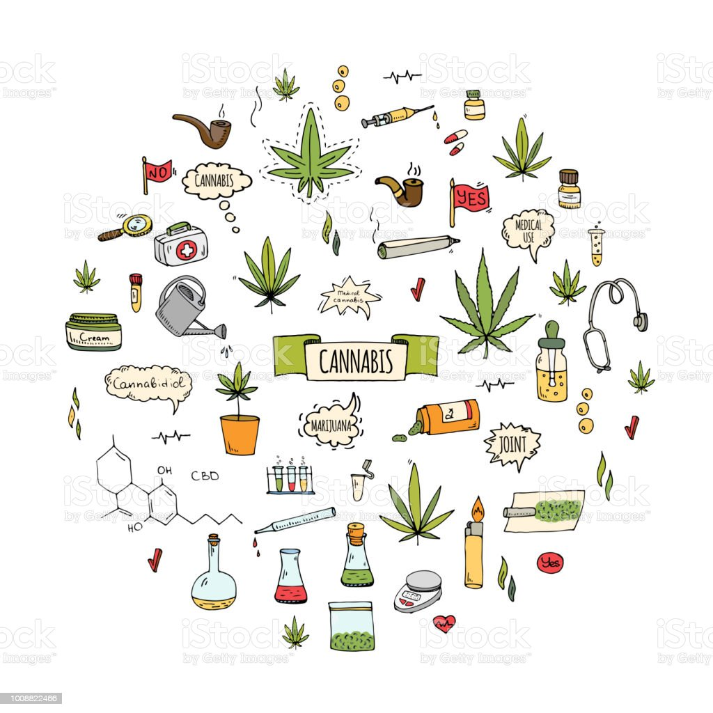Hand drawn doodle Cannabis icons set vector art illustration