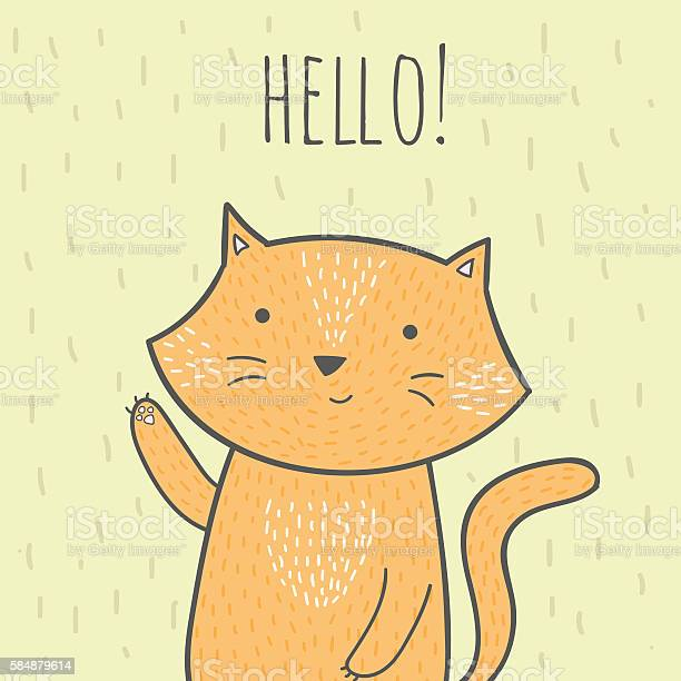 Hand drawn doodle card with a cat that says hello vector id584879614?b=1&k=6&m=584879614&s=612x612&h=pc1apinawocs1gbrzhurbbaozaqrrcvjofqziswk p8=