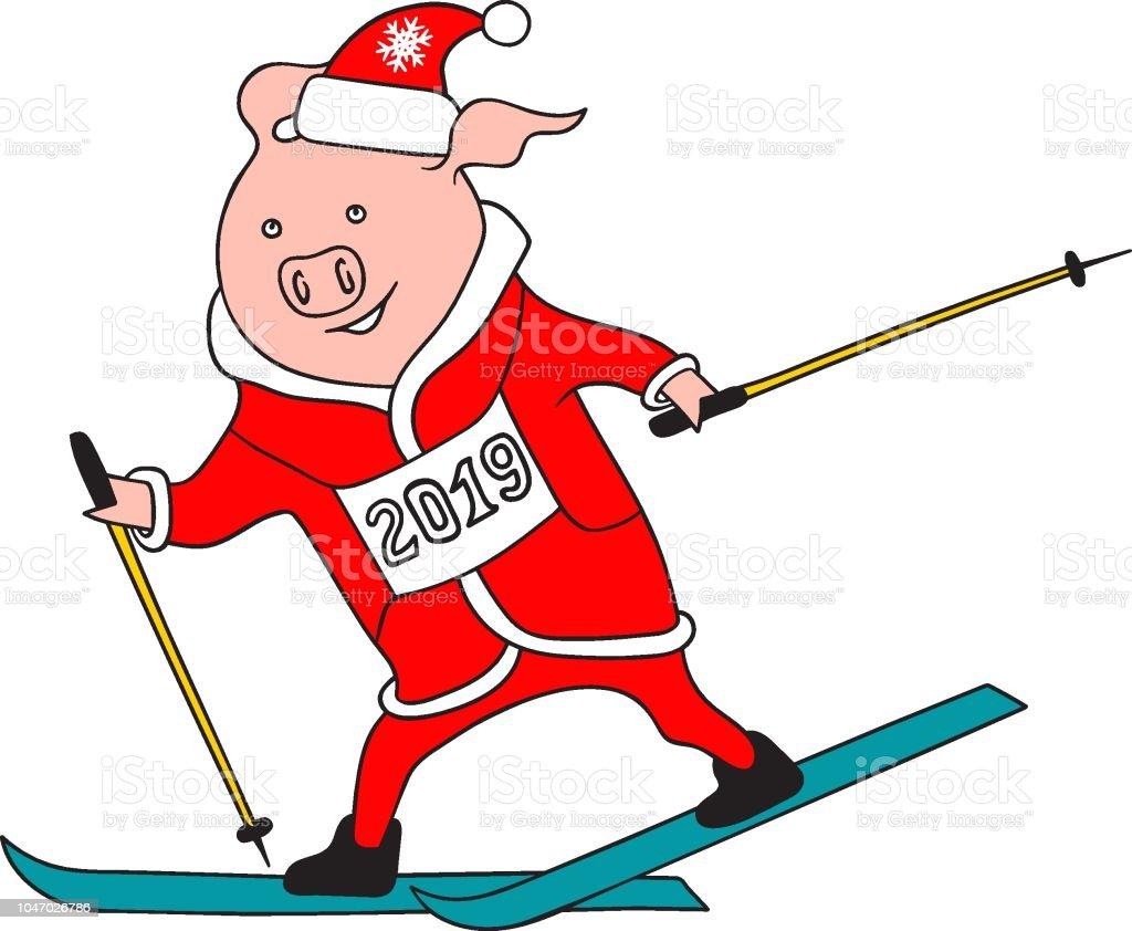 Skifahren über Weihnachten 2019.Hand Gezeichnet Doodle Cartoon Schwein Skifahren In Santa Claus