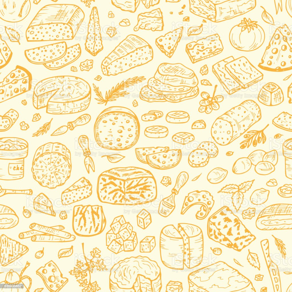Hand Drawn Doodle Cheese Vector Seamless pattern vector art illustration