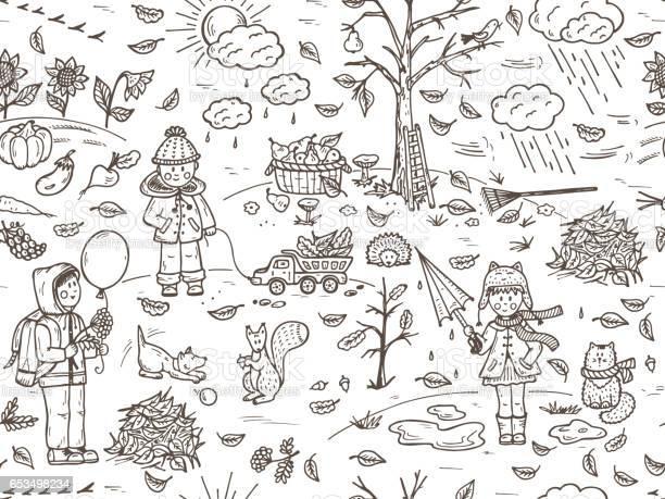 Hand drawn doodle childhood seamless pattern autumn season children vector id653498234?b=1&k=6&m=653498234&s=612x612&h=j9elaa3hnpznlss6 nypcidxqa1qvyrqh1lrxgtnn18=