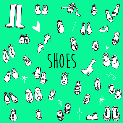 Hand Drawn Doodle Clothing Icon Set - Shoes