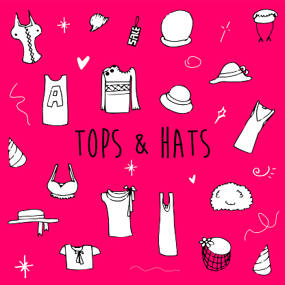 Hand Drawn Doodle Clothing Icon Set - Tops & Hats