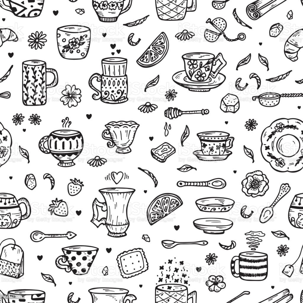 seamless doodle coffee pattern - photo #9
