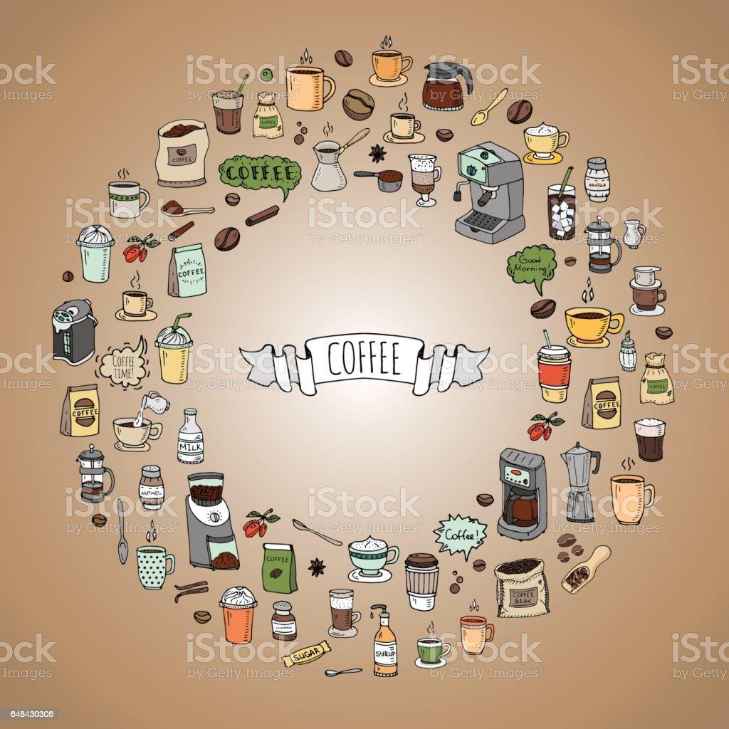 Ilustración de Icono De Tiempo Café Doodle Dibujado Mano Establece ...