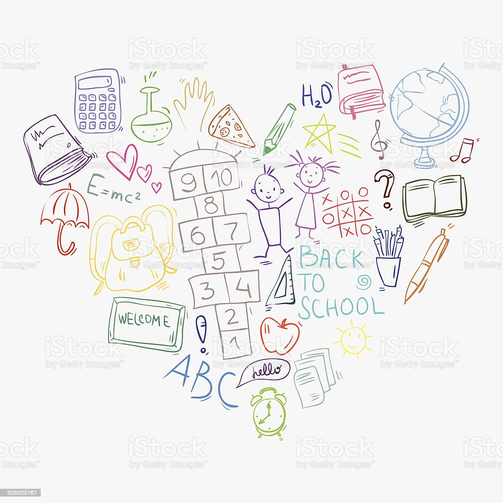 Zeichnung doodle bunten Schule Symbole, die in Herzform – Vektorgrafik