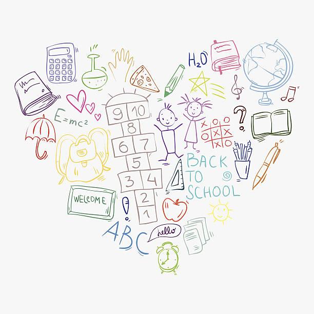 手描きの落書きのカラフルな学校のアイコンでハート形のお手配 - 学校の文房具点のイラスト素材/クリップアート素材/マンガ素材/アイコン素材