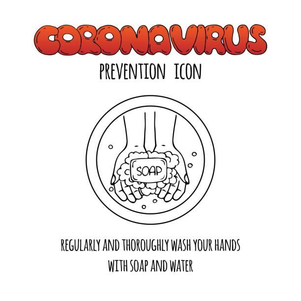Hand drawn doodle Coronavirus molecule vector icon vector art illustration