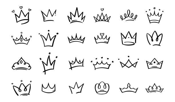 illustrations, cliparts, dessins animés et icônes de couronnes de griffonnage dessinées à la main. croquis de couronne de roi, diadème majestueux, roi et vecteur royal de diadèmes de reine. ligne art prince et princesse luxueux accessoires de tête collection d'illustrations - diademe