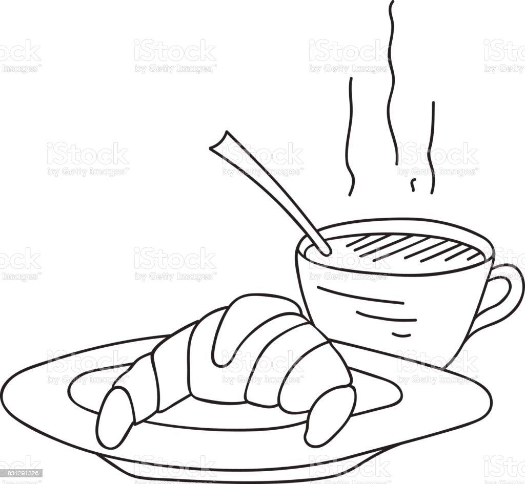 Hand Gezeichnet Doodle Tasse Kaffee Heißdampf Mit Croissant Auf ...