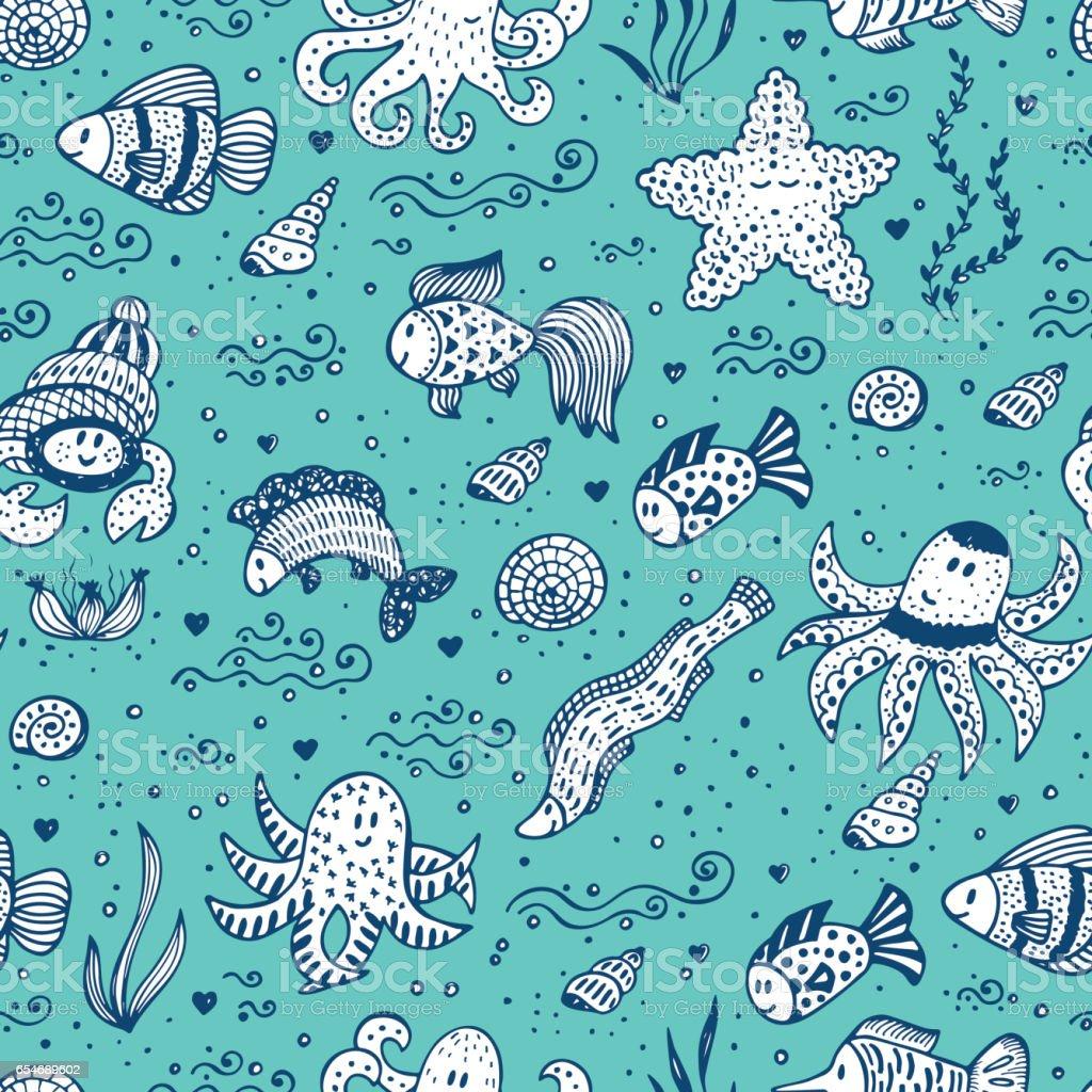 Hand Gezeichnet Doodle Süß Meer Tiere Seamless Pattern Verschiedene ...
