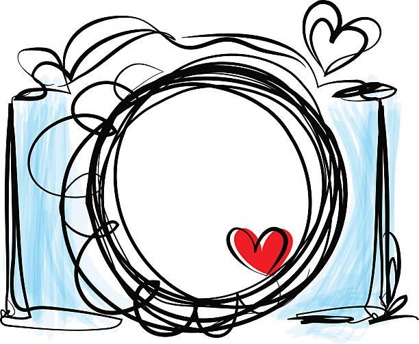 hand drawn doodle digital camera illustration with love heart向量藝術插圖