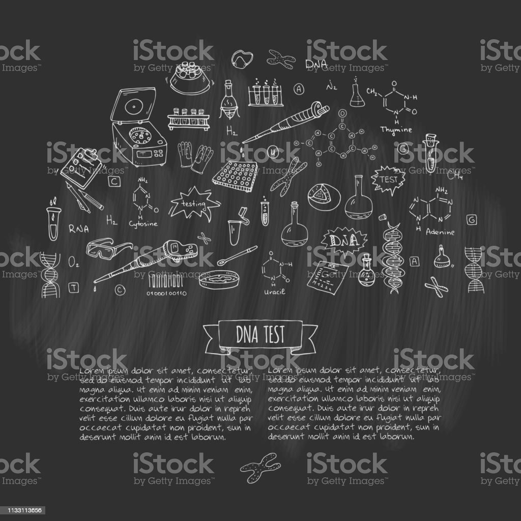 Hand drawn doodle DNA test icons set. Vector illustration. Medical lab symbol collection. Cartoon nano technology, medicine, genome elements: research tools, substance, molecules, nitrogenous bases vector art illustration