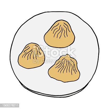 istock Hand drawn doodle Dumplings Xiao Long Bao. Chinese cuisine dish. Design sketch element for menu cafe, restaurant, label and packaging. Vector colorful illustration on a white background. 1300278211