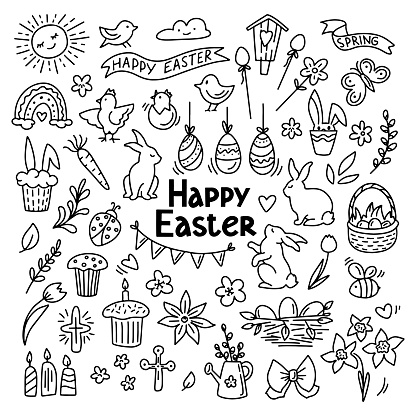 Hand drawn doodle easter elemetns isolated on white. Basket with colored eggs, bunny, carrot, tulips, glazed cake, candle, chick. Vector illustration.