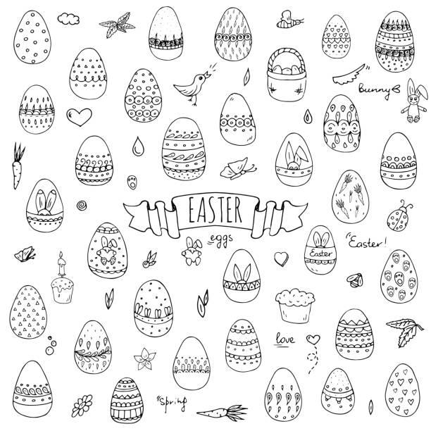 Hand drawn doodle Easter icons set Vector illustration spring bunny symbols collection Cartoon decoration elements: egg, rabbit, basket, bird, carrot, butterfly, bunny footprint, hunting eggs, hearts vector art illustration