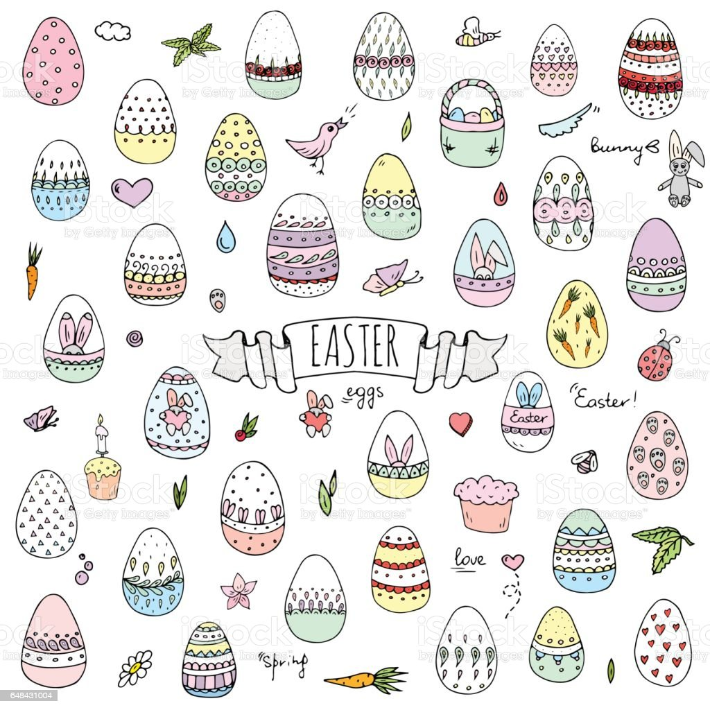 Hand drawn doodle Easter icons set Vector illustration spring bunny symbols collection Cartoon decoration elements: egg, rabbit, basket, bird, carrot, butterfly, bunny footprint, hunting eggs, hearts vector art illustration
