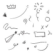 hand drawn doodle element collection with cartoon style