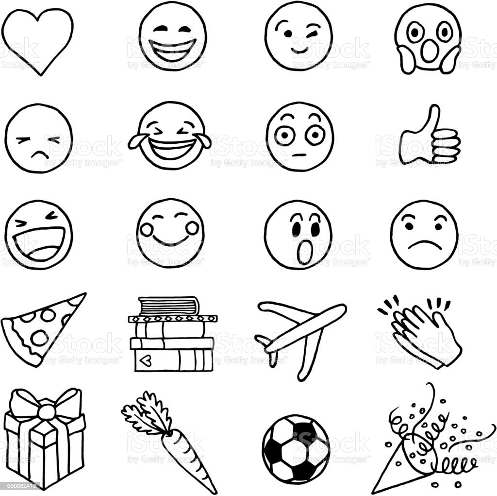 Hand drawn doodle emoji royalty-free hand drawn doodle emoji stock vector art & more images of airplane