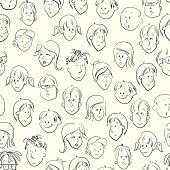 hand drawn doodle faces seamless pattern