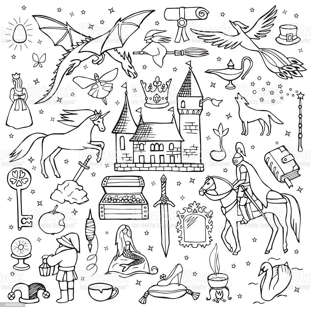 Hand drawn doodle fairy tale set vector art illustration