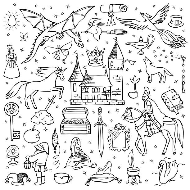 Hand drawn doodle fairy tale set Vector illustration for textile prints, web and graphic design, covers, posters fairy tale stock illustrations