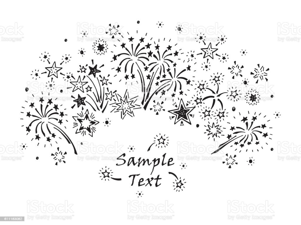 Hand drawn doodle Fireworks and Stars. Holiday card vector template vector art illustration