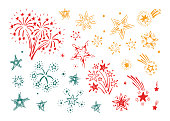 Hand Drawn doodle Fireworks and Stars Set Vector