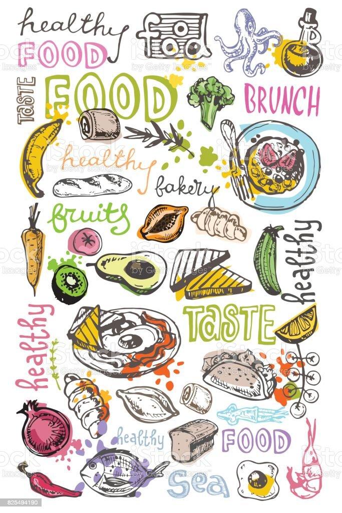 Hand drawn doodle food illustration. Healthy food vector art illustration