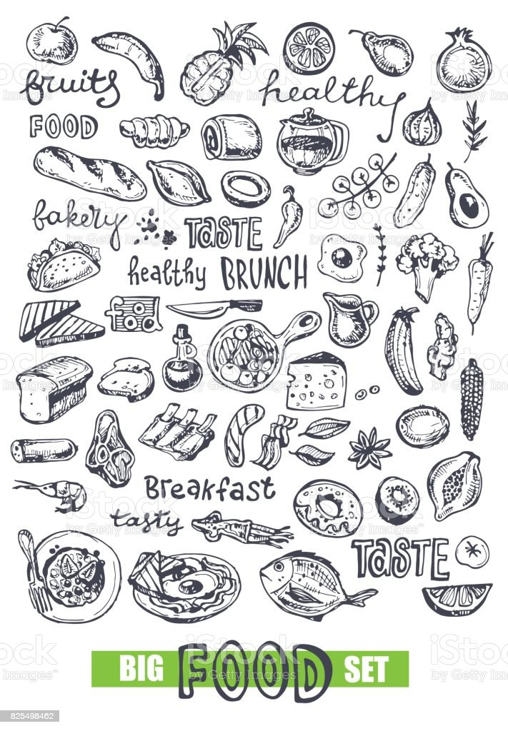 Hand drawn doodle food illustration. Healthy food vector art illustration