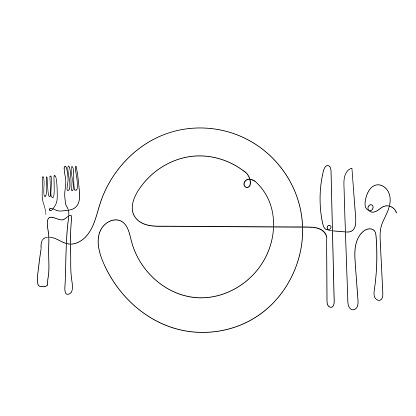 hand drawn doodle fork plate and spoon illustration in continuous line art style vector