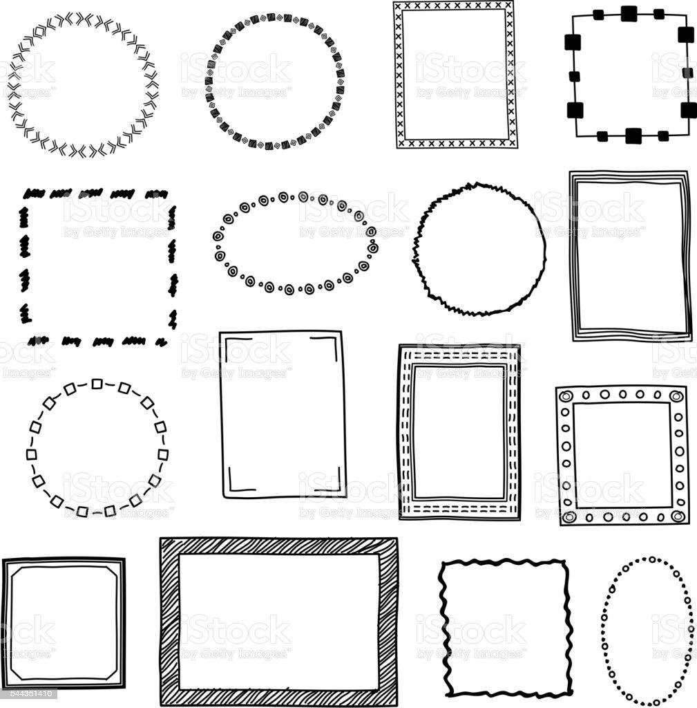Hand Drawn Doodle Frames Borders Vector Set Stock Vector