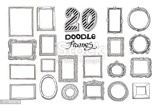 Conjunto de marcos de garabatos dibujados a mano
